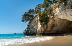 Iconic rock formation at Cathedral Cove in New Zealand stock images