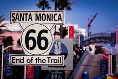 Iconic Route 66 End of Trail Sign. At Santa Monica Pier Stock Photos