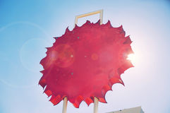 Iconic Route 66 Motel Road Sign. In the shape of the sun stock illustration