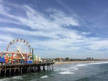 Iconic Santa Monica. View of Pacific Park and the beach from the Santa Monica Pier in Santa Monica, CA Royalty Free Stock Photography