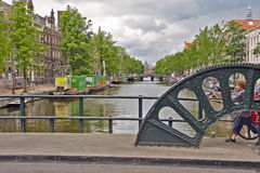 Iconic Scenes from Amsterdam showing Canals Stock Photo