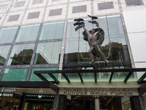Iconic sculpture on the facade building of Rundle mall plaza. stock photo