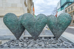 The iconic sculpture of Twin 6' Hearts Stock Photography