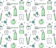 Iconic seamless Pattern about dentistry for kids. Vector educational seamless pattern with dentist equipment on white background. Fun iconic style Stomatology Stock Images
