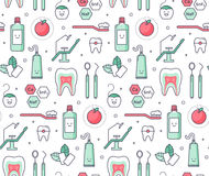 Iconic seamless Pattern about dentistry Stock Images