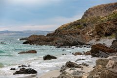 The iconic Second Valley beach looking north on an overcast day. On the Fleurieu Peninsula South Australia on 1st November 2018 stock image