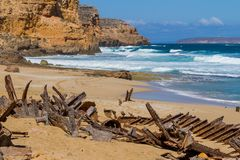 The iconic shipwreck of the SS Ferret and Ethel had the sand unc. Overed by a large storm on Ethel Beach, Yorke Peninsula, South Australia, Australia Royalty Free Stock Photography