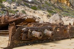 The iconic shipwreck of the SS Ferret and Ethel had the sand unc. Overed by a large storm on Ethel Beach, Yorke Peninsula, South Australia, Australia Stock Photography