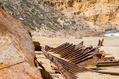 The iconic shipwreck of the SS Ferret and Ethel had the sand unc. Overed by a large storm on Ethel Beach, Yorke Peninsula, South Australia, Australia Royalty Free Stock Photos