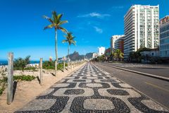Iconic Sidewalk at Ipanema Beach in Rio de Janeiro Royalty Free Stock Images