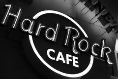 The Iconic sign of Hard Rock Cafe restaurant Stock Photo