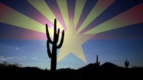 Cactus Silhouette Clouds at Sunrise Time Lapse with Arizona Flag in Sky