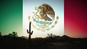 Cactus silhouette clouds at sunrise time lapse with Mexico flag in sky