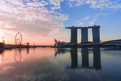 Iconic Singapore buildings in Marina Bay Royalty Free Stock Images