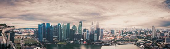 Iconic Singapore cityscape panorama form observation deck. Of Marina Bay Sands Hotel Royalty Free Stock Photo