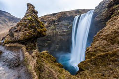 Iconic Skagafoss fall in cloudy day, Iceland Royalty Free Stock Photos