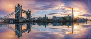 The iconic skyline of London during sunset Royalty Free Stock Photo