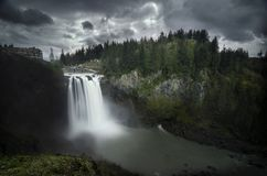 Dark Snoqualmie Falls stock photography