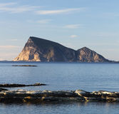 The iconic Sommaroya island - postcard from Norway. The iconic island of Sommaroya - a postcard view from northern Norway stock image