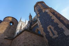 Southwark Cathedral in London. The Iconic Southwark Cathedral next to Borough Market in London Royalty Free Stock Images