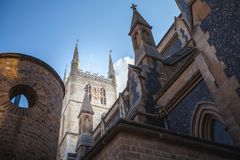 Southwark Cathedral in London. The Iconic Southwark Cathedral next to Borough Market in London Stock Photo