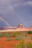 Iconic Southwest. Double rainbows over Monument Valley, Navajo Nation, USA stock images