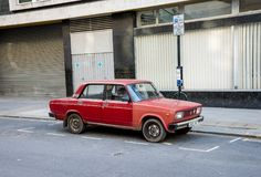 Iconic Soviet Lada Zhiguli car parked on one of the street in central London Stock Photography
