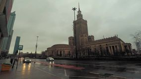 Iconic Stalin building in Warsaw hyper lapse, Poland stock footage