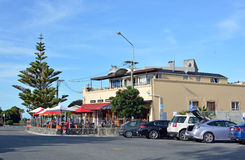 Iconic Sumner bar, The Rock on an Autumn Christchurch day. stock image