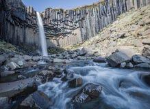 Iconic Svartifoss vattenfall Island Fotografering för Bildbyråer