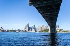Iconic Sydney Harbour bridge from underneath Stock Image