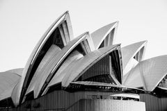 The Iconic Sydney Opera House in Black and White Stock Photo