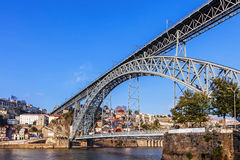 The iconic 19th century Dom Luis I bridge seen from the city of Gaia Royalty Free Stock Photography