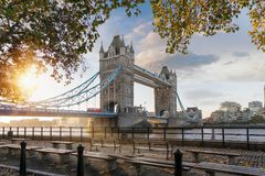 The iconic Tower Bridge in London during a autumn sunrise royalty free stock images