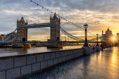 The iconic Tower Bridge in London stock photos