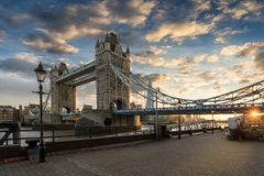 The iconic Tower Bridge in London during sunset royalty free stock photos