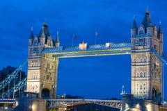 Tower Bridge on River Thames, London, England. Iconic turreted bridge on River Thames lit up at night Royalty Free Stock Image