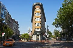 Iconic uniquely shaped building in Vancouver Gas Town district, Canadagastown stock photos