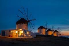 Iconic väderkvarnar av Chora i Mykonos, Grekland Fotografering för Bildbyråer