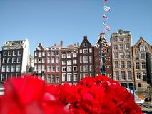 Iconic view of Amsterdam old town stock image