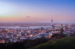 Iconic view of Auckland City center from Mt Eden. Royalty Free Stock Photos
