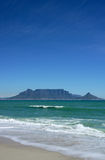 Iconic view of cape town's table mountain. Table mountain, cape town, seen over the ocean Stock Photos