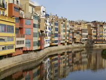Iconic view of Girona. View on hotspot in city center of the city of Girona, Spain Stock Photography