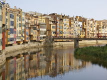 Iconic view of Girona. View on hotspot in city center of the city of Girona, Spain Royalty Free Stock Image