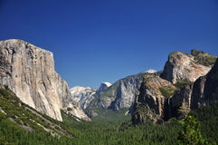 Iconic View of Half-Dome and El-Capitan, Yosemite Stock Photo