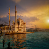 Iconic view of Istanbul from Ortakoy with The Bridge. The Mosque and The Bosphorus Royalty Free Stock Photos