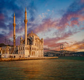 Iconic view of Istanbul from Ortakoy. With The Bridge, The Mosque and The Bosphorus Royalty Free Stock Photos