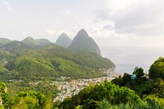 Iconic view of Piton mountains. Near small town of Soufriere on St Lucia island in Caribbean royalty free stock photos