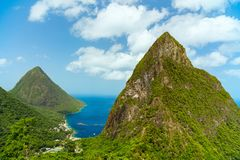 Iconic view of Piton mountains Royalty Free Stock Image