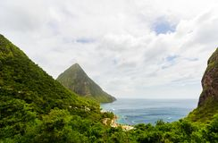 Iconic view of Piton mountains Stock Image